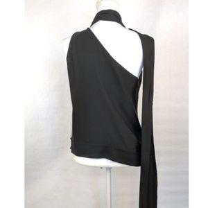 DIANE VON FURSTENBERG Cold Shoulder Top Black Silk